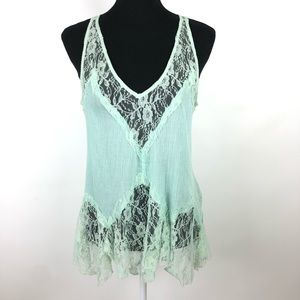 Intimately Free People Crinkle Gauzy Lace Tank Top